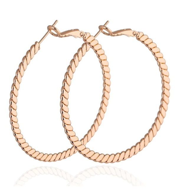 Yazilind Elegant Vogue 18k Gold Plated Extra Large Omega Back Hoop Earrings 46mm Diameter - rose golden - C811MPNNKNV