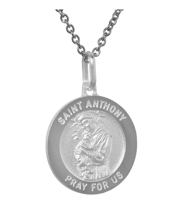 Sterling Silver St Anthony Medal Necklace 3/4 inch Round Italy 0.8mm Chain - CJ1114130FD