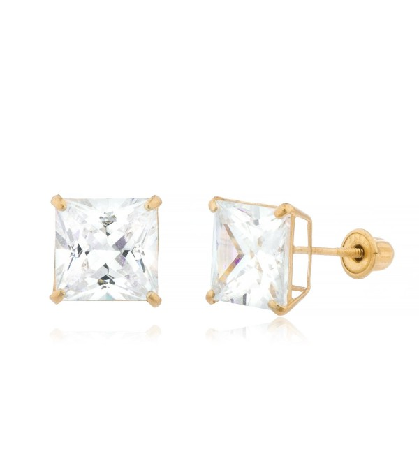 14K Yellow Gold Screwback Earrings Square Cubic Zirconia Studs - CW1869I2QQT