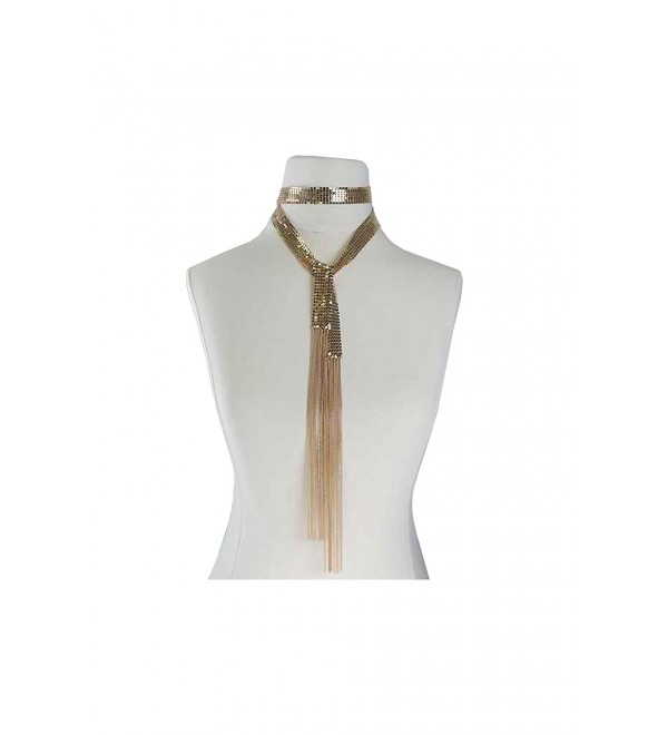 Womens Spangle W/ Fringe Neck Around Fashion Wrap Choker Necklace MOS7250 - Gold - CJ17YTNQ8NQ