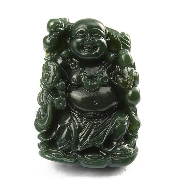 100% pure natural green jade hand carved Lucky Happy laughter maitreya Buddha Necklace pendant - C8186QMW8AY