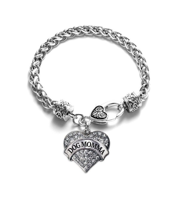 Dog Momma Pave Heart Bracelet Silver Plated Lobster Clasp Clear Crystal Charm - CB123HZH4OB