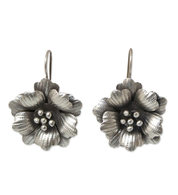 NOVICA .950 Silver Flower Drop Earrings- 'Delicate Chiang Mai Rose' - C6115YQRGS1