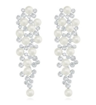 LY8 Fashion Women Simulated Pearl Grapes Chandelier Dangle Drop Earrings for Prom - Silver tone - CE1836CMK44