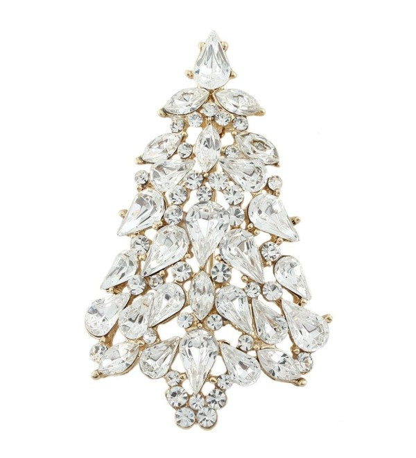 EVER FAITH Party Wishing Tree Teardrop Austrian Crystal Brooch Pin Gold-Tone - Clear - C311BSRVJU1