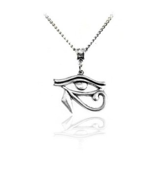 Antiqued Silver Egyptian Eye of Horus Necklace - C912E8UVPQR