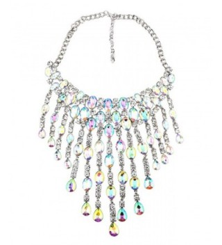 Qiaose Luxury Shiny Crystal Pendant Choker Necklace Women Wedding Boho Statement Jewelry - White - C912NV7G4HM