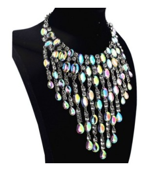 Qiaose Crystal Necklace Wedding Statement in Women's Choker Necklaces