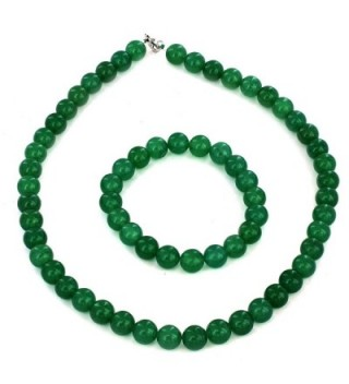 Women's Sterling Silver Green Aventurine Beaded Bracelet and Necklace Set - CE128KYE21R
