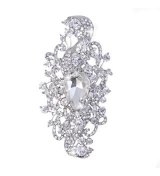EVER FAITH Women's Rhinestone Crystal Wedding Bridal Floral Leaf Teardrop Brooch Clear Silver-Tone - CQ11IOM2939