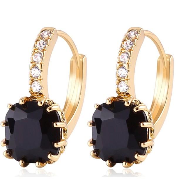GULICX Gold Tone Black Crystal Dashing Captivating Rhinestone leverback Earring - C511XGS1LDP