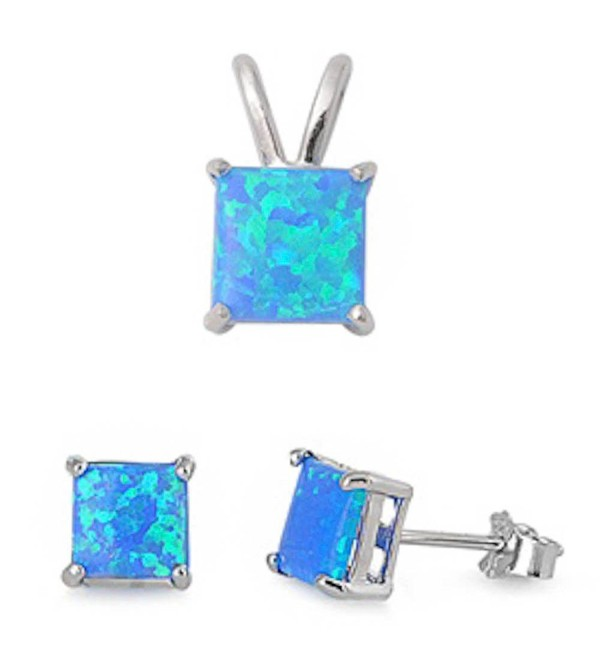 Princess Cut Lab Created Blue Opal Pendant & Earring .925 Sterling Silver Set - CM11CYSJEMD