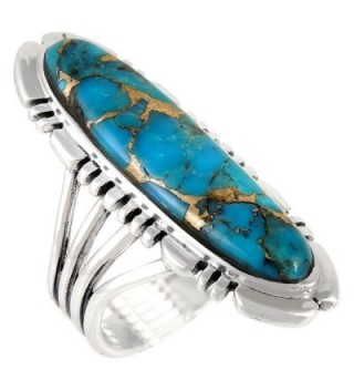 Sterling Silver Ring with Genuine Turquoise & Gemstones (SELECT color) - Teal/Matrix Turquoise - CZ1855MLQ6D