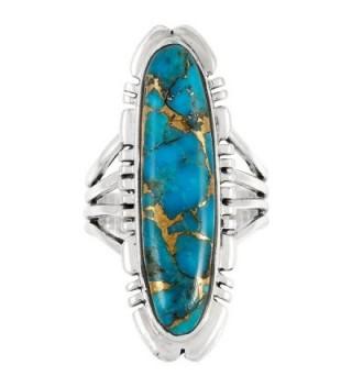 Sterling Silver Genuine Turquoise Gemstones in Women's Statement Rings