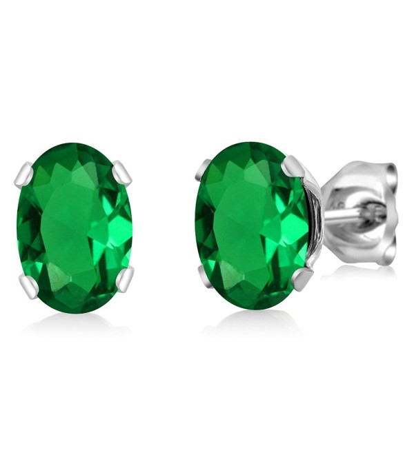 1.20 Ct Oval 7x5mm Green Nano Emerald 925 Sterling Silver Stud Earrings - C311FEO54Q9