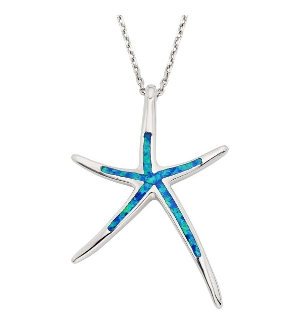 "Sterling Silver- Gold Tone or Rose Tone Created Blue- White or Pink Opal Starfish 18"" Pendant Necklace - Blue - CA11J3TOLK1"