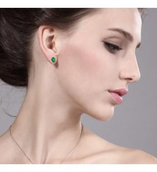 7x5mm Emerald Sterling Silver Earrings