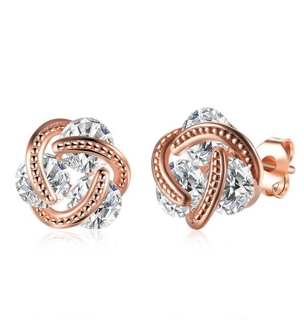 Love knot heart With 3pcs Cubic Zirconia 14K Rose Gold Stud Earrings Nice Gift - CV189N56CQN