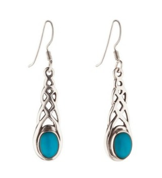 Silverly Women's .925 Sterling Silver Celtic Knot Simulated Turquoise Stone Dangle Earrings - C911TNTRY7X