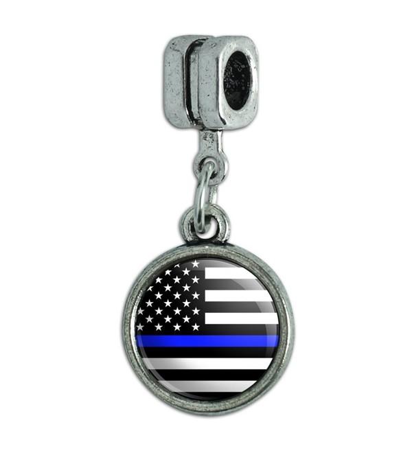 Thin Blue Line American Flag Italian European Style Bracelet Charm Bead - CG18652K38H