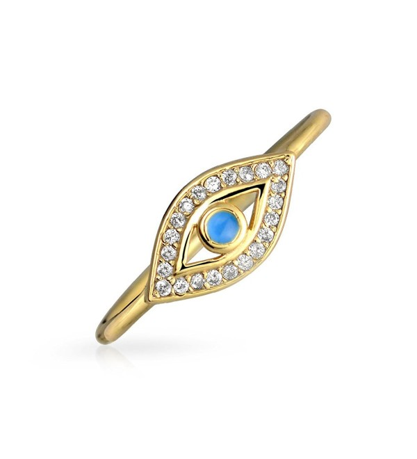 Thin Blue CZ Evil Eye Stacking Gold Plated Silver Ring - CD11VOW5V3V