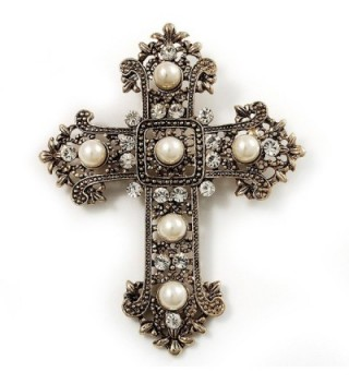 Large Victorian Filigree Imitation Pearl Crystal Cross Brooch (Antique Gold) - C5115OLGQIH