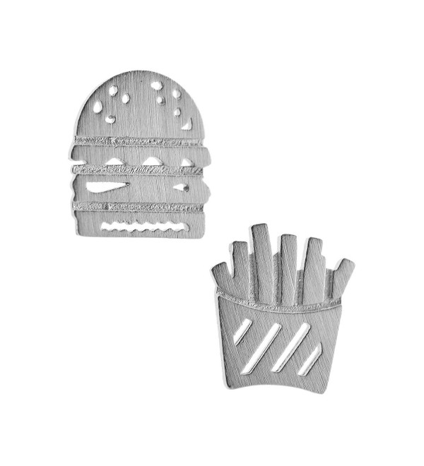 Spinningdaisy Handmade Brushed Metal Burger and Fries Earrings - CB128PB8HQB