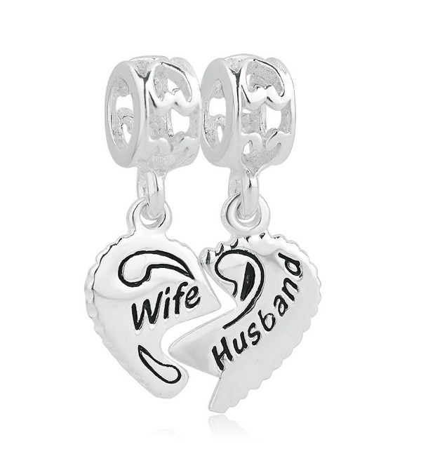 LovelyJewelry 925 Sterling Silver Wife & Husband Charms Two Piece Love Family Dangle For Bracelets - CE12CEGAT5T