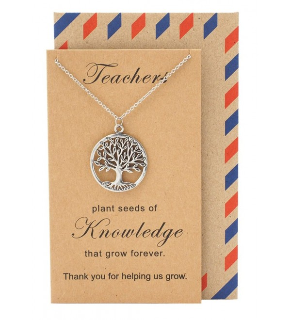 Quan Jewelry Teacher's Day Perfect Gift- Tree of Life Necklace Pendant with Thank You Card- Appreciation Gifts - CM12N139FWW