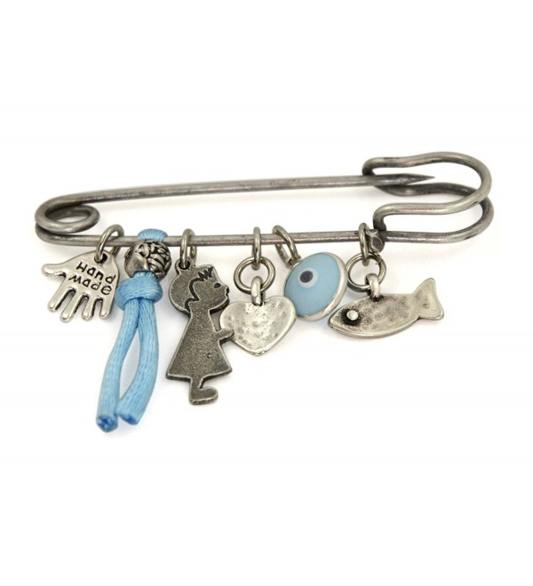 Silver Tone Evil Eye Protection Charms Baby Safety Pin Brooch for Crib - C0115RFCT45