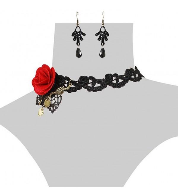 Charm.L Grace Flower Lace Gothic Lolita Pendant Choker Necklace Earrings Set Wedding Halloween Accessories - CM11LUBDJ1H