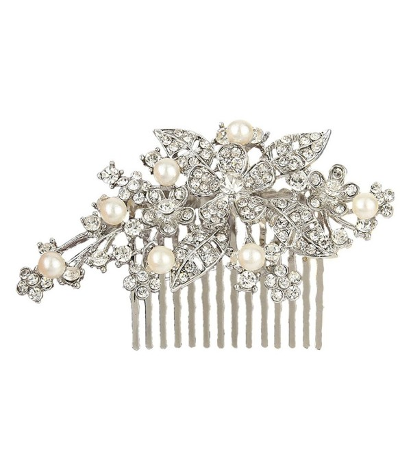 EVER FAITH Bridal Orchid Leaf Simulated Pearl Hair Comb Clear Austrian Crystal - Silver-Tone - CB11F8Q7B4L