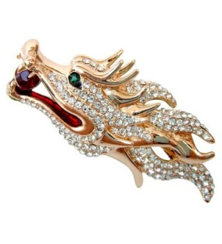 Navachi 18k Gold Plated White Crystal Dragon Head Az7968b Brooch Pin - C211WUXRLG3