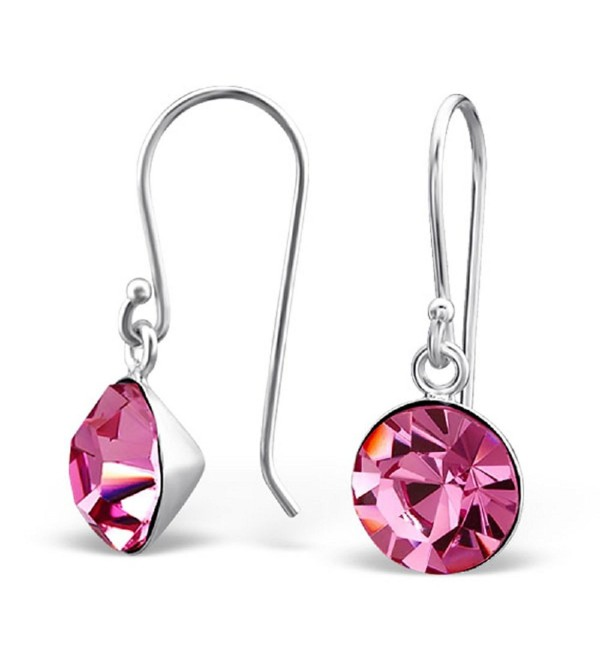 925 Sterling Silver Round Rose Pink Crystal Fishhook Earrings 23817 - C712DHWR3R7