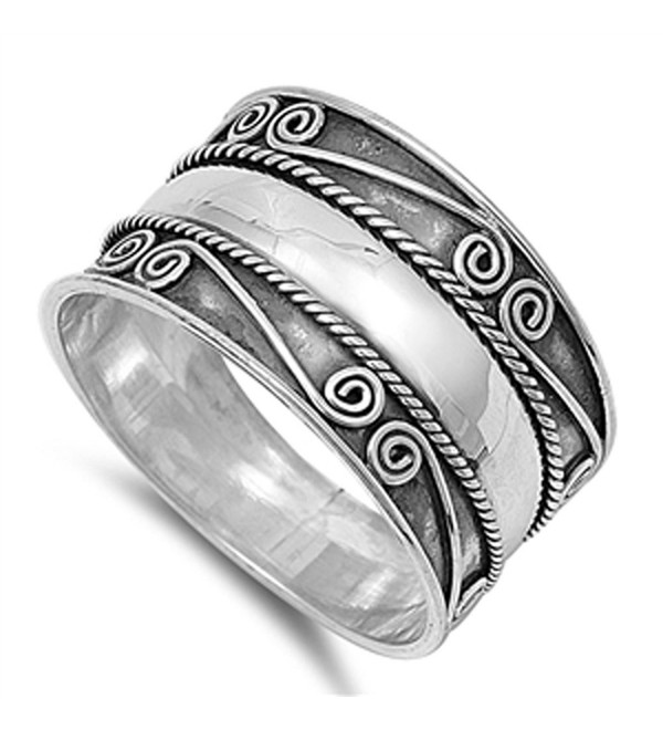 Bali Swirl Braided Rope Wide Thumb Ring New .925 Sterling Silver Band Sizes 6-12 - CS187YTNWXY