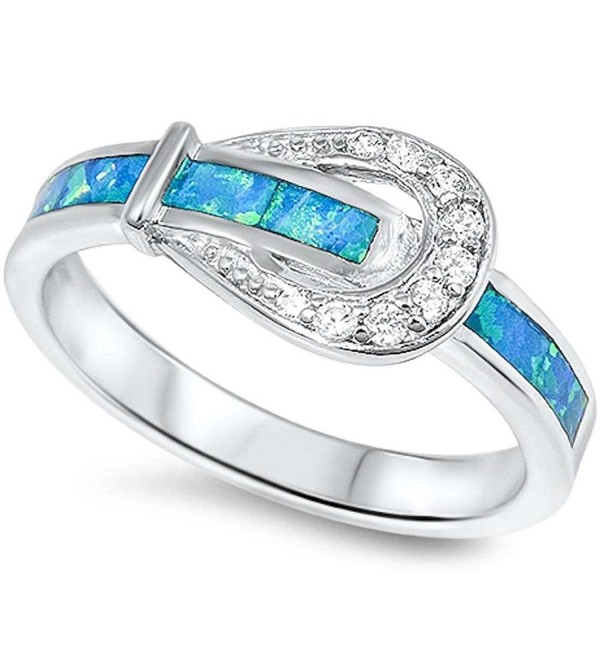 Lab Created Blue Opal & Cz Belt Buckle .925 Sterling Silver Ring Sizes 4-10 sro16614-bo - CZ11MBK7OOT