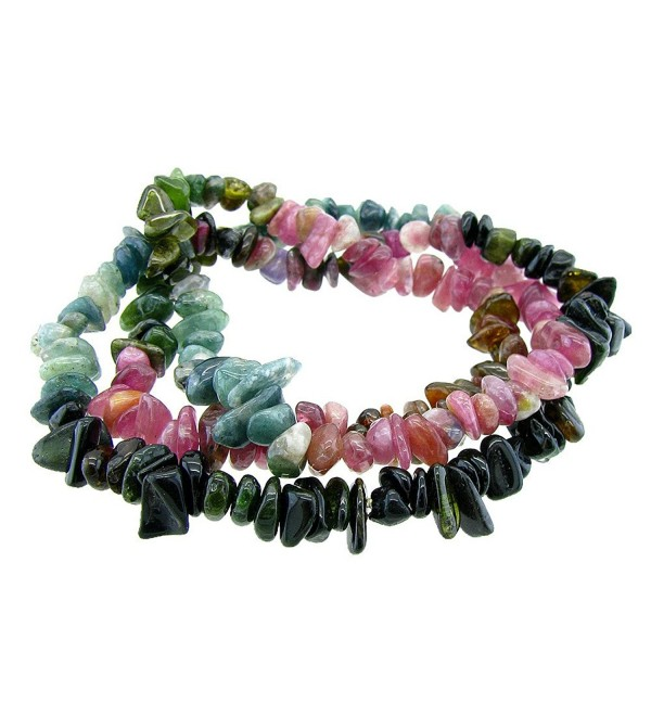 Stunning 6mm Round Stackable Tourmaline chips Bead Stretchy Bracelet / Necklace - CW11XYH80EV