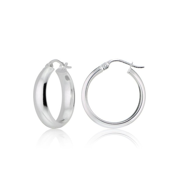 Sterling Silver 5mm Wide Half-Round Design High Polished Hoop Earrings- All Sizes - CG12KKGHJDL
