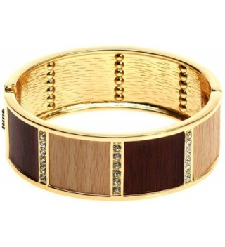 Lova Jewelry Brown Wood Texture Crystal Gold Tone Hinge Metal Bangle Bracelet - CW12O3TNAIT