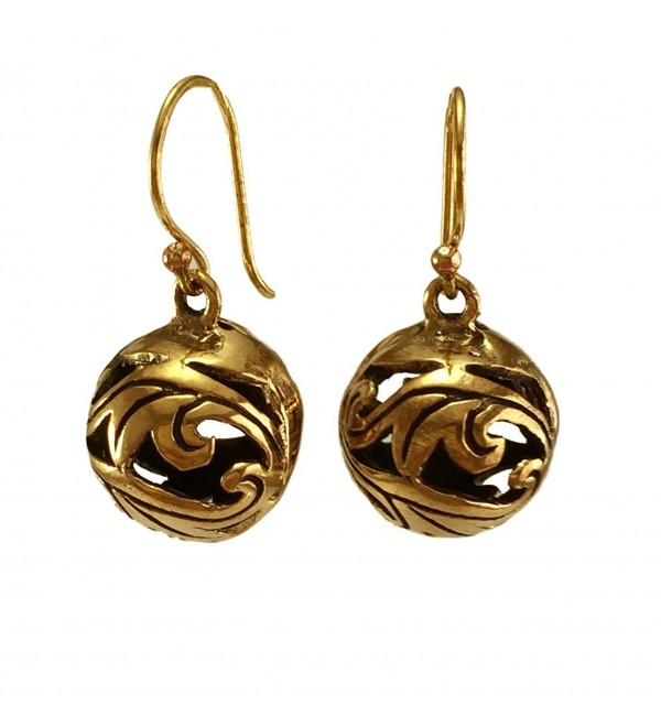 Real Bronze Duo Leaf Filigree Ball Drop Dangle Earrings Fish Hook Bronze Jewelry Gifts - CU12BYANHO1
