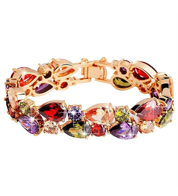 BAMOER Rose Gold Plated Multicolor Cubic Zirconia Bracelet for Women Girls Perfect Gift for Her - CM11PVMVK85