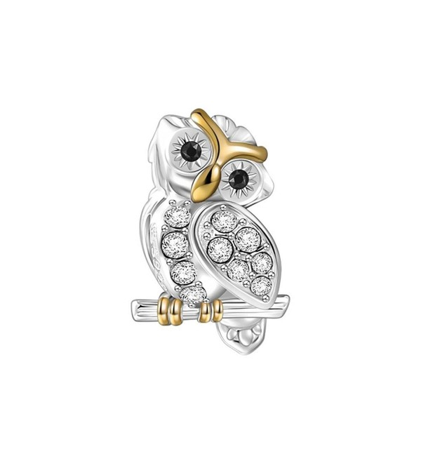 SOUFEEL Golden Plated Charms 925 Sterling Silver Rose Golden Charms Fit European Bracelet - Wise Owl - C212MAA1J9D