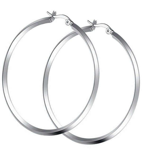 Titanium Stainless Steel Highly Polishing Simple Circle Earring with a Gift Box and a Free Small Gift - C9124O2XUFN