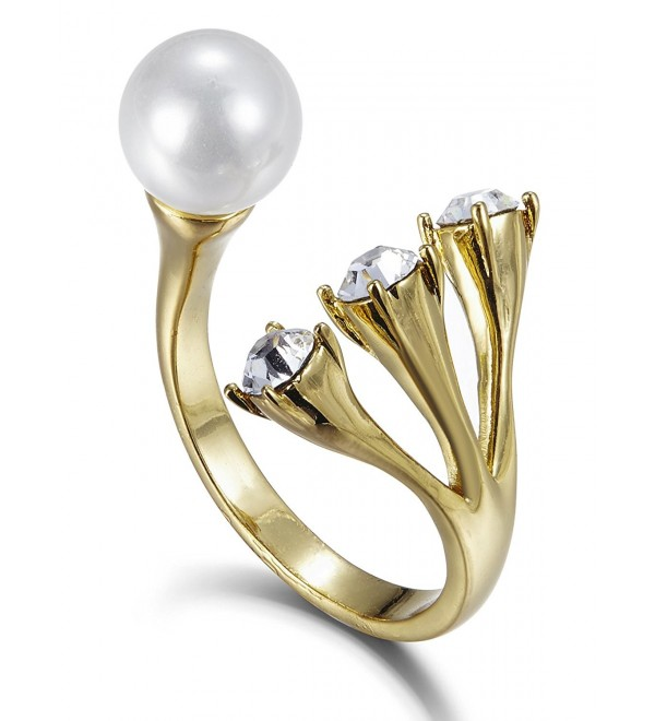 FAPPAC Simulated Pearl Statement Ring Enriched with Swarovski Crystals- Size 6 - C312CVOJT97
