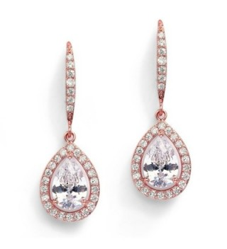 Mariell Pear-Shaped CZ Bridal Wedding Teardrop Earrings - Real 14k Rose Gold Plated Jewelry - CC186I4NIX8