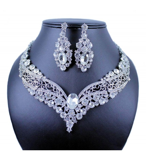 Janefashions VINTAGE AUSTRIAN RHINESTONE CRYSTAL NECKLACE EARRING SET BRIDAL PROM N1872 WHITE - C212F75BKLH