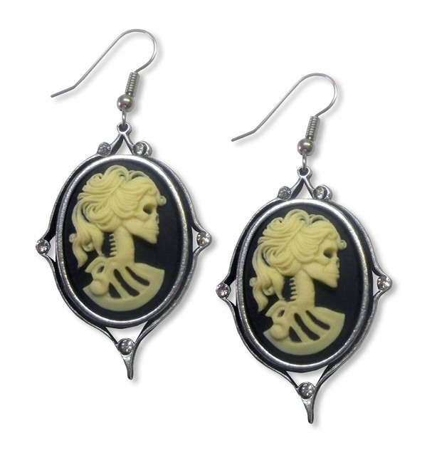 Gothic Lolita Cameo Ivory on Black Dangle Earrings with Austrian Crystals - CT12BHRFAFP