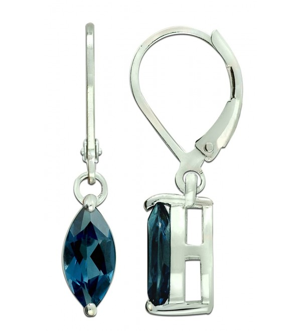 Sterling Silver 925 Earrings GENUINE LONDON BLUE TOPAZ 4.37 Cts with RHODIUM-PLATED Finish DANGLING Style - C91875CGHGX