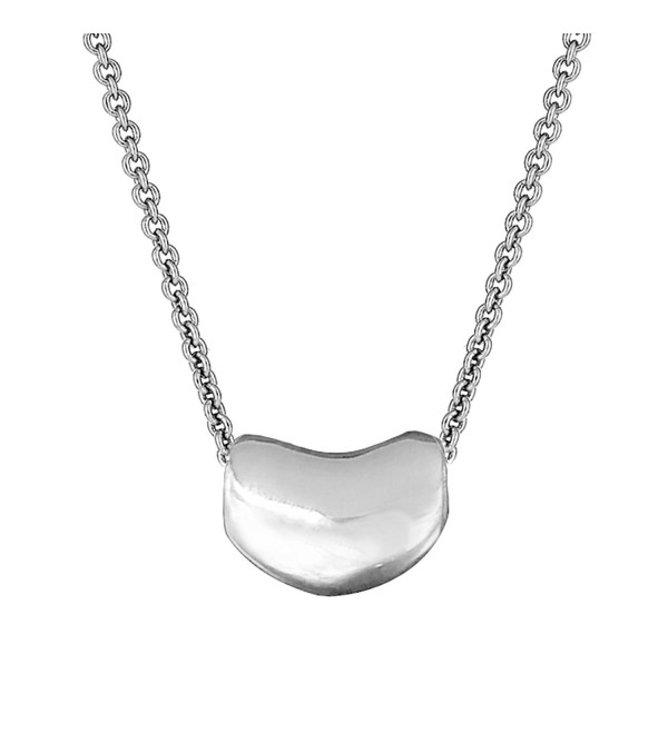 Sterling Silver Kidney Bean Pendant Charm Necklace (16- 18- 20 Inches) - CI110LSBMTV