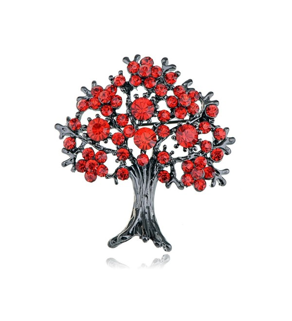 Alilang Gunmetal Gun Metal Tone Orange Red Topaz Colored Rhinestones Apple Fruit Floral Tree Brooch Pin - Red - C7113T297ON